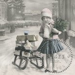 "Serwetka do decoupage ""Serviett Girl With Sled"""